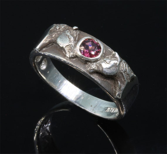 Sterling Silver Quarter Horse Ring with Rhodolite Garnet by Cavallo Fine Jewelry