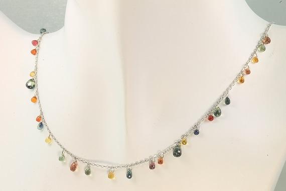 "19 Carats of Multi Colored Sapphire Briolette, 18"", 14K White Gold Necklace by Cavallo Fine Jewelry"
