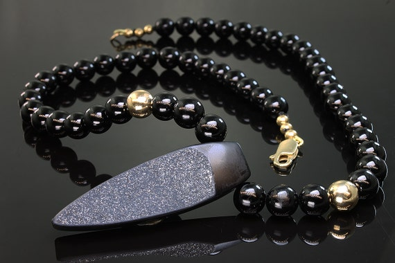 Black Onyx, Druzy and 14K Yellow Gold Necklace by Cavallo Fine Jewelry