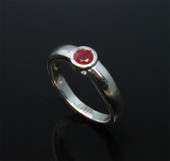 14K White Gold Stackable Ring with Ruby by Cavallo Fine Jewelry