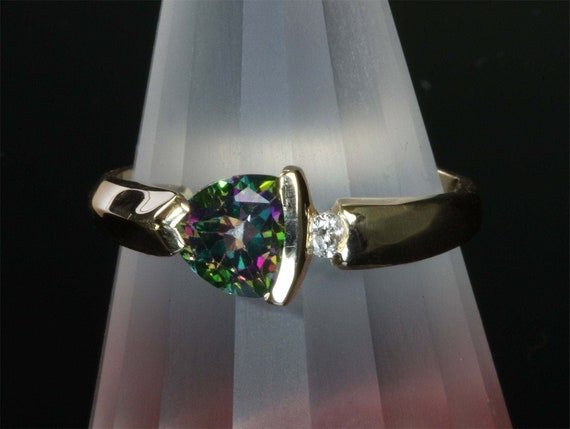 14K Yellow Gold Trillion Mystic Topaz and Diamond Ring by Cavallo Fine Jewelry