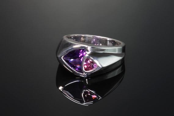 Handmade sterling silver amethyst and rhodolite garnet trillion gemstone ring, fancy. cut, colorful stylish statement ring