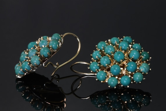 Victorian Style 14K Yellow Gold and Turquoise Cluster Vintage Earrings