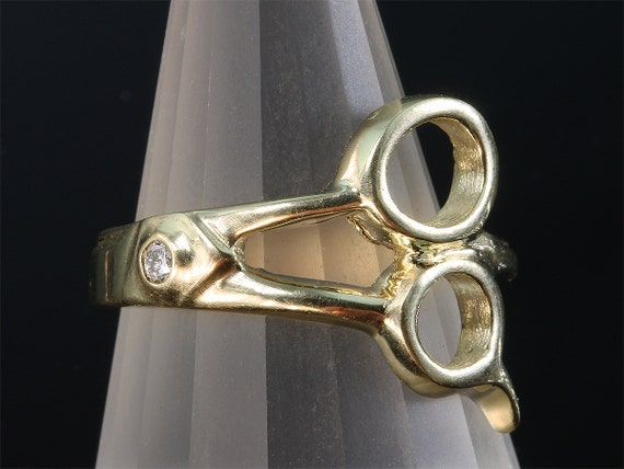 14K Gold Men's Pinkie Scissor Ring © with Diamond by Cavallo Fine Jewelry