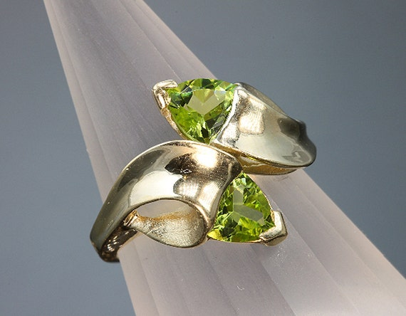 14K Gold Ring with Trillion Peridots by Cavallo Fine jewelry