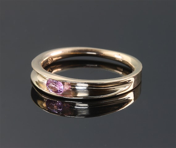 Stackable 14K Yellow Gold Ring with Oval Pink Sapphire by Cavallo Fine Jewelry