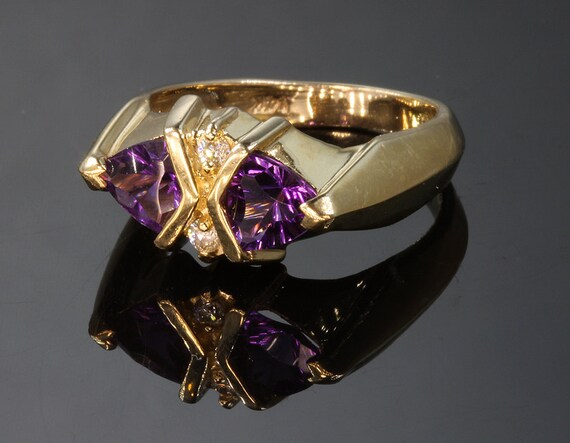 14K Gold, Amethyst and Diamond Ring by Cavallo Fine Jewelry
