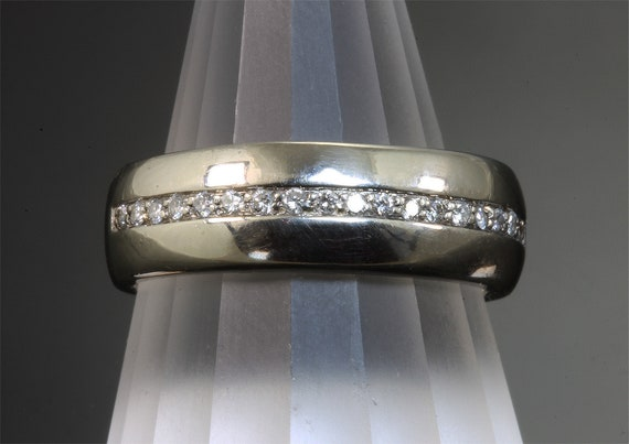 Vintage 14K White Gold Men's Diamond Wedding Band