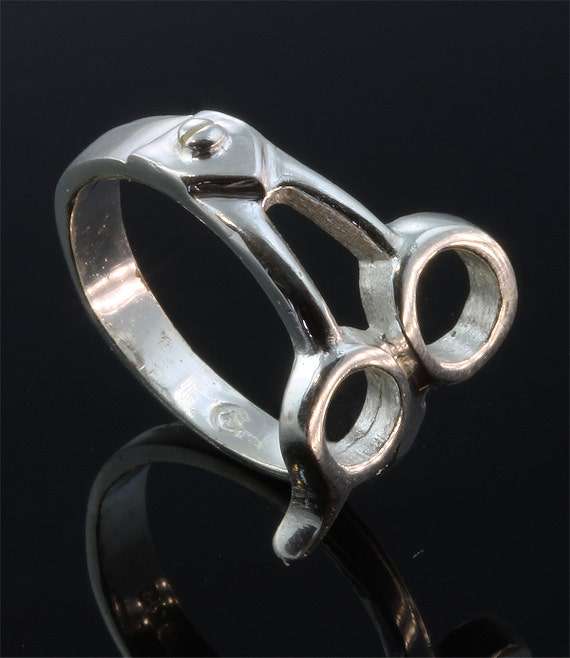 Sterling Silver Mens Pinkie Scissor Ring© by Cavallo Fine Jewelry