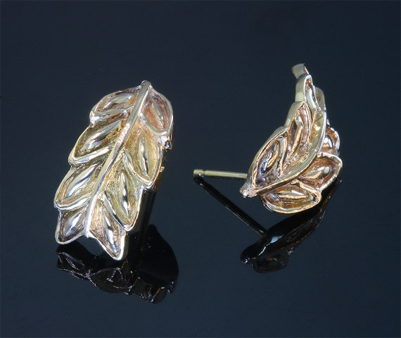 14K Yellow Gold Leaf Earrings by Cavallo Fine Jewelry