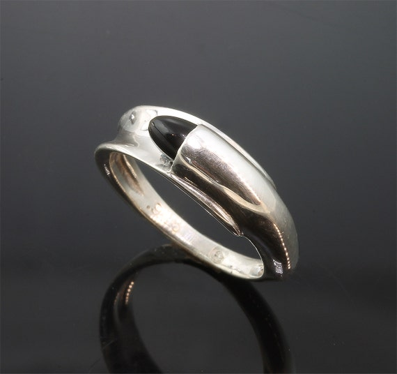 Sterling Silver and Bullet Cabochon Onyx Ring by Cavallo Fine Jewelry