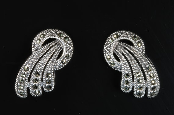 Vintage sterling silver and marcasite stud earrings, fireworks sparklers ear candy, gift for her womans retro fashion bling