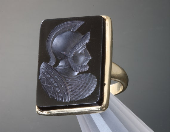 14K Yellow Gold and Onyx Roman Soldier Intaglio Ring, unisex jewelry, vintage, unique, holiday gift ideas, gift for anyone