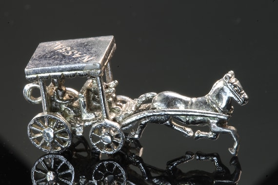 Vintage Sterling Silver Nassau Horse and Carriage Charm
