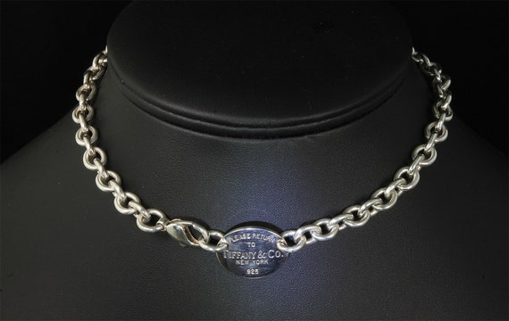 "Vintage Tiffany and Co sterling silver 15.5"" Please return choker, classic style, elegant statement necklace, estate jewelry great gift idea"