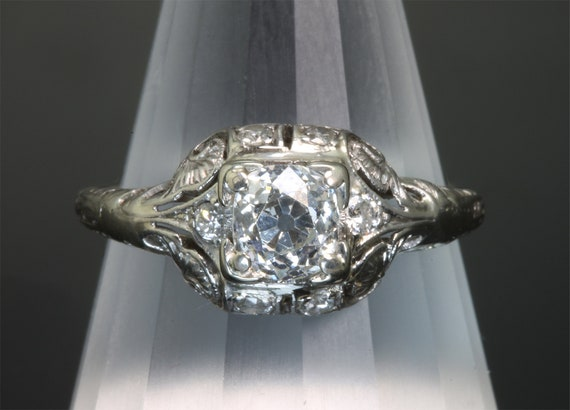 Platinum Art Nouveau Style Diamond Engagement Ring