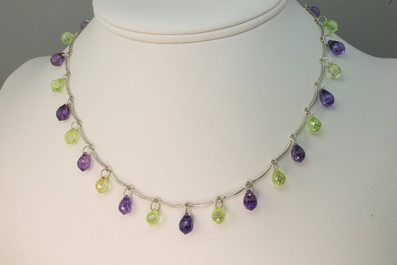 Sterling Silver Necklace with Purple and Lime Green Cubic Zirconia Briolettes by Cavallo Fine Jewelry
