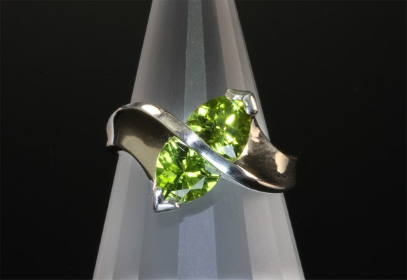 Sterling Silver and Trillion Cut Peridot Ring by Cavallo Fine Jewelry