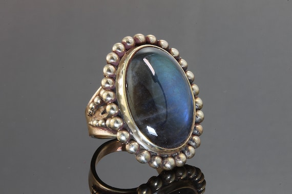 Vintage Stephen Dwenk Sterling Silver and Labradorite Cabochon Ring