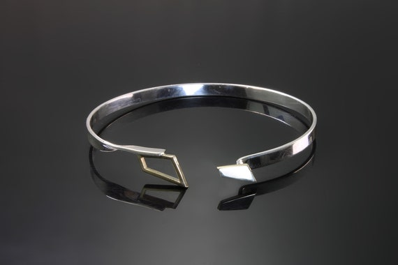 """Sterling silver 14K yellow gold bangle bracelet, triangle gold clasp, womans fashion, everyday wear gift for her, 7"""" interior diameter"""