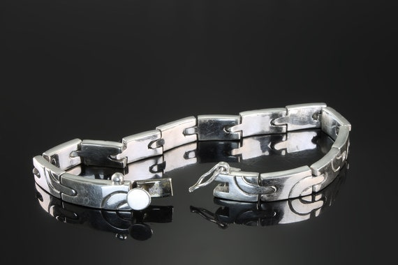 "Vintage  7.5"" Taxco 925 Sterling Silver Art Deco style unisex link bracelet, wrist candy stylish everyday wear ,gift for anyone"