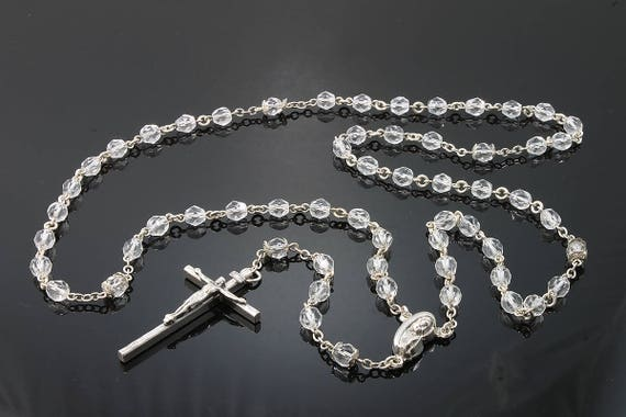 Sterling Silver and Clear Faceted Glass Bead Vintage Creed Rosary