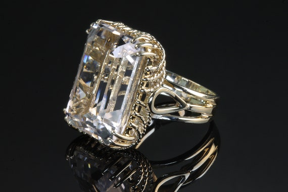 14K Yellow Gold Vintage Ring with Large Clear Quartz Emerald Cut Gemstone