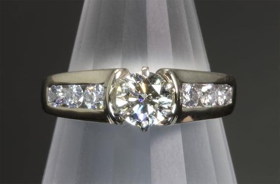 14K White Gold Diamond Engagement Ring, Half Carat center Diamond, Diamond Ring, marriage bride to be, wedding ring, vintage jewelry .86 tcw
