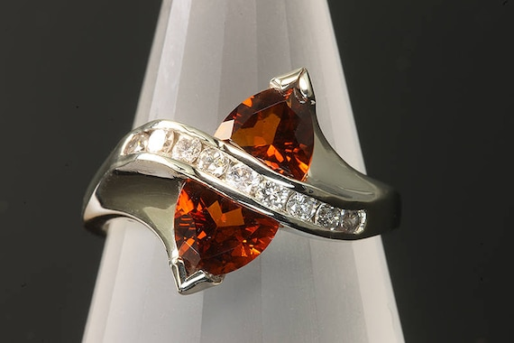 14K White Gold Ring with Trillion Madiera Citrine and Diamond Ring, burnt orange, handmade jewelry, handmade ring, sparkles