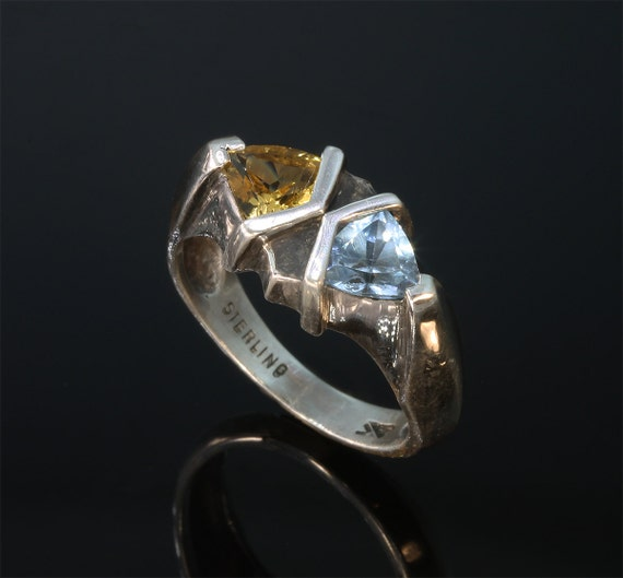 Sterling Silver Ring with Citrine and Blue Topaz by Cavallo Fine Jewelry