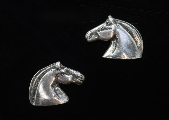 Handmade Sterling Silver Norwegian Fjord Stud Earrings, horse jewelry, equestrian gift, equine jewelry