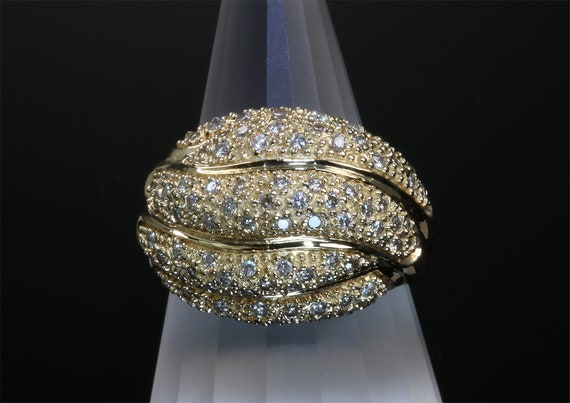 Vintage 14K Yellow Gold and Diamond 1990s Cocktail Ring