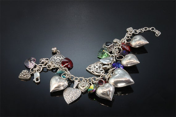 Sterling Silver and Swarovski Crystal Heart Bracelet by Cavallo Fine Jewelry