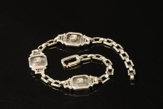 14K White and Yellow Gold Art Deco Diamond and Crystal Bracelet, womans fashion, flapper, roaring 20s, feminine elegance