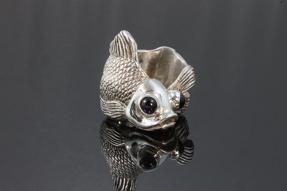 Sterling Silver Fish Ring with Iolite Cabochon Eyes by Cavallo Fine Jewelry