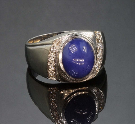 Mens 14K White Gold, Star Sapphire and Diamond Vintage Ring
