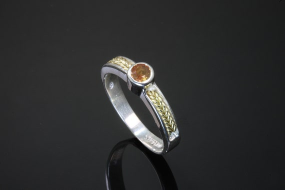 Sterling Silver and 18K Yellow Gold Orange Sapphire Ring by Cavallo Fine Jewelry