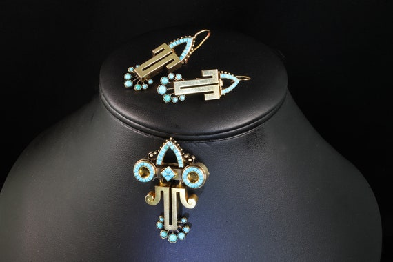 Rare Etruscan Revival Persian Turquoise and 14K Gold Earrings and Brooch/Pendant