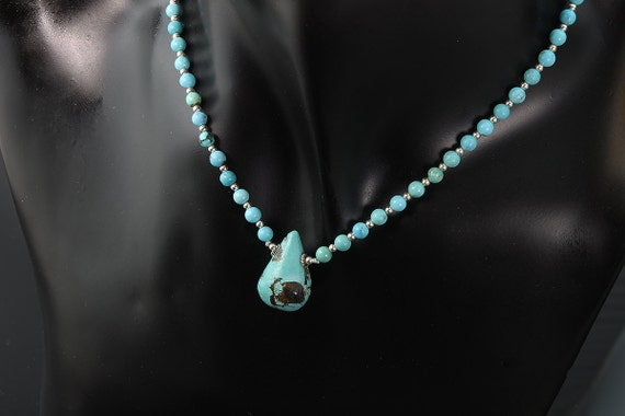 Turquoise and Sterling Silver Bead Necklace by Cavallo Fine Jewelry