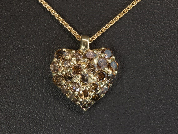 10K Gold Heart Vintage Pendant with 1.15tcw  Diamonds