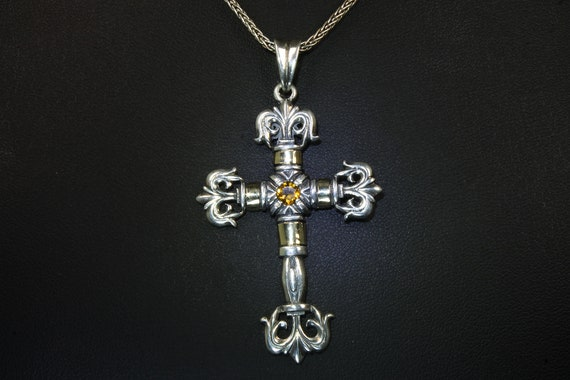 Vintage ornate STAL sterling silver and citrine cross, faith pendant goldtone accents, piece of sunshine  christian emblem