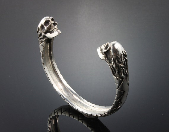 Sterling Silver Motorcycle Tire Tread Bracelet with Flaming Skulls by Cavallo Fine Jewelry