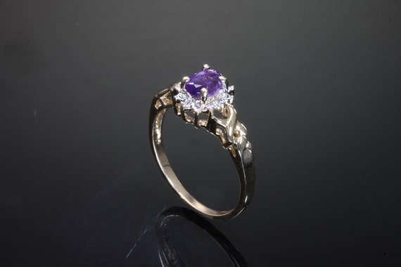 Vintage 10K Yellow Gold Amethyst and diamond ring, spot of color, purple, February birthstone, gift for her, sweet!