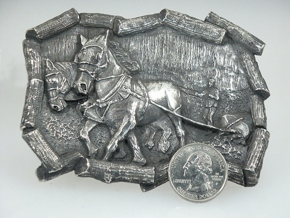 Sterling Silver Percheron Belt Buckle by Cavallo Fine Jewelry