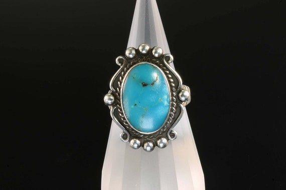 Sterling Silver Vintage 'Fred Harvey' Blue Turquoise Ring