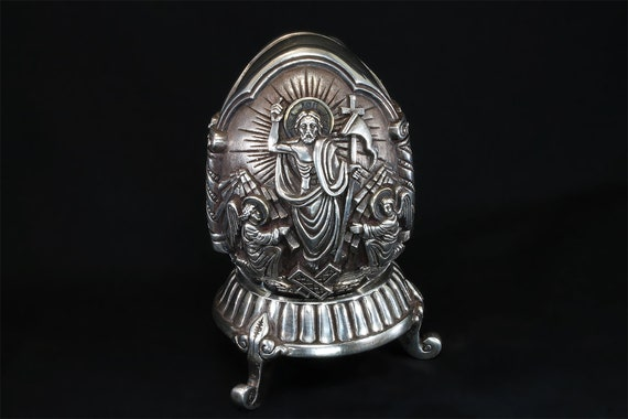 Vintage 1999, 995 silver Made In Greece High Relief Egg Shaped Icon, Greek orthodox, religious figure, collectible cultural gift