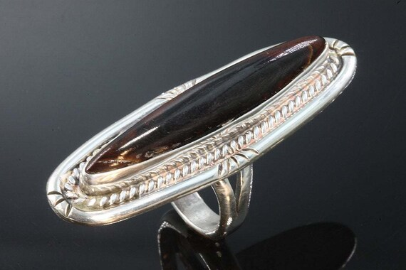 Signed Frank Ortega Jr. Sterling Silver and Mahogany Obsidian Vintage Ring