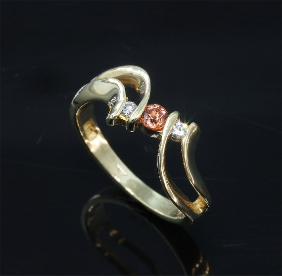 14K Gold Ring with Orange Sapphire and Diamonds