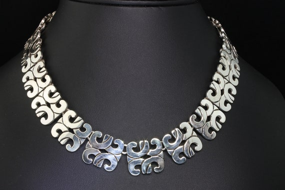 Vintage Sterling Silver Mexico Heavy Tribal Necklace
