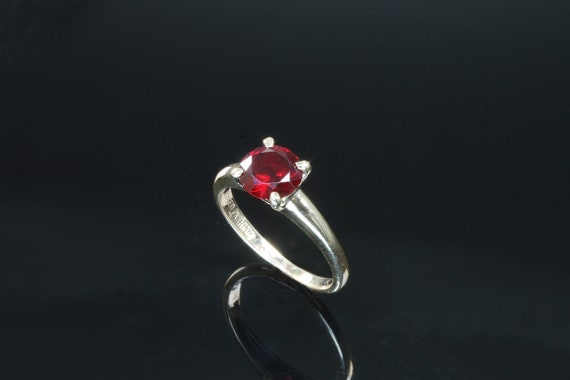 Vintage 10K Yellow Gold Ruby Solitaire Ring, 1 carat round red gemstone, July birthstone, unique engagement ring. gift for her